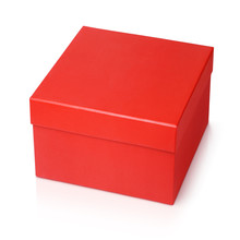One Red Shoe Square Box Isolated On White Background With Clipping Path