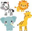シマウマ、ライオン、象、キリンのイラスト