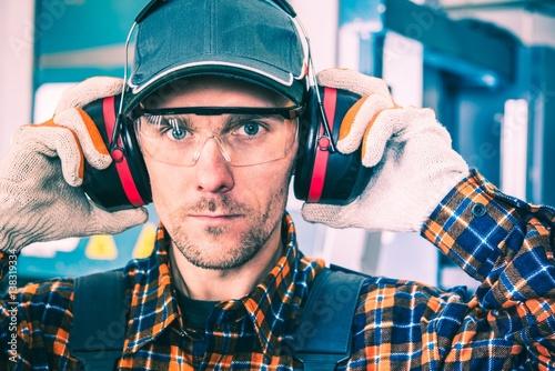 Fotografie, Obraz  Wearing Hearing Protectors