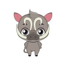Cute Stylized Cartoon Babirusa Illustration ( For Fun Educational Purposes, Illustrations Etc. )