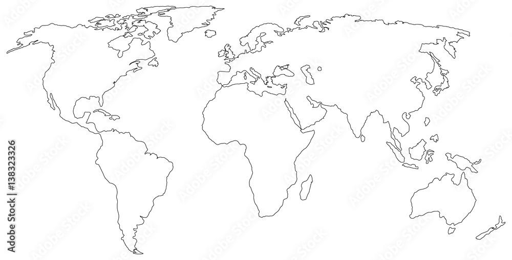 Fototapeta world map silhouette