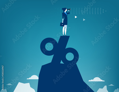 Fotografía  Woman looking through telescope standing on top of percentage sign