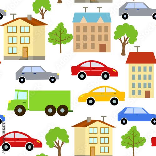 wzor-z-elementami-ulic-miasta-samochody-domy-i-drzewa