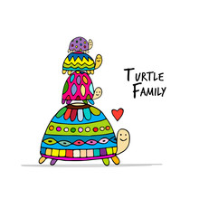 Funny Family, Turtle With Chid...