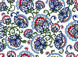 Vintage floral seamless pattern. Ethnic ornament. Stylized decorative background  in folk art style. Traditional handcraft. Seamless texture in bright colorson white background.