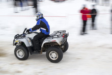 Quad Bike Race In The Winter