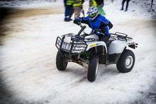Quad Bike Race In The Winter