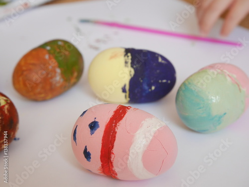 Easter Eggs Made By Play Clay Painted With Watercolors By Four Years