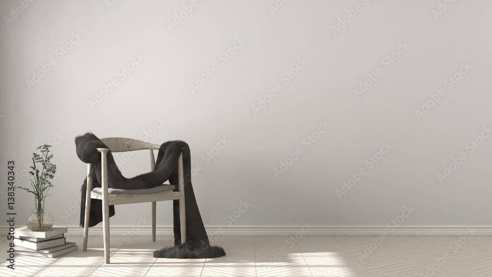 Fototapety, obrazy: Scandinavian white background, wooden armchair with fur on herringbone natural parquet flooring, interior design