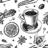 Seamless pattern with hand-drawn hot chocolate, candied fruit and spices. Vector illustration.