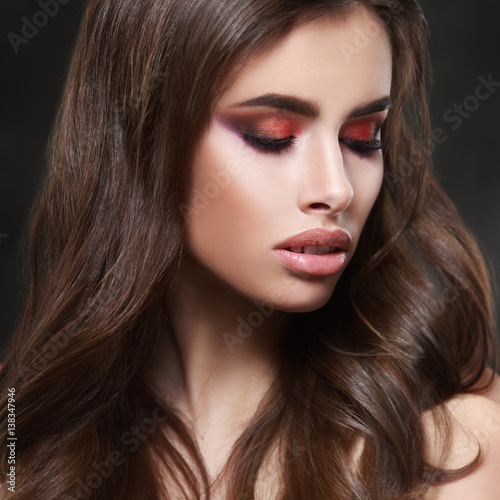 Fototapety, obrazy: Beauty portrait of sexy elegant woman with bright oriental make-up on a black background.