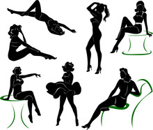 Vector Silhouette Of Pin Up Girls