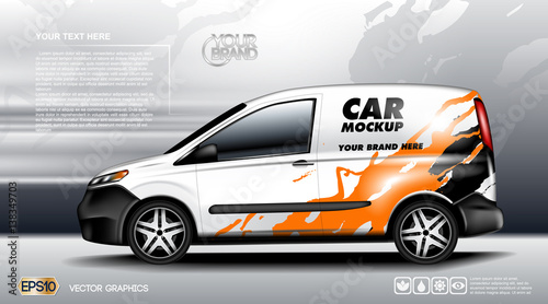 Fotografía  Digital vector white realistic vehicle car mockup, ready for your logo and design