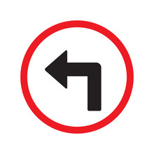 Turn Left Sign Isolated Vector