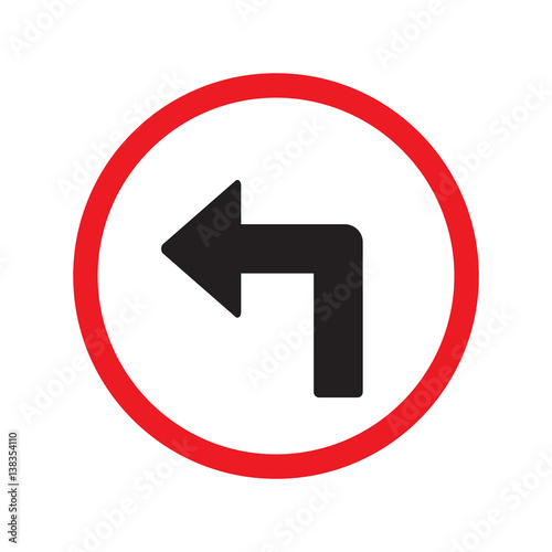turn left sign isolated vector Wall mural