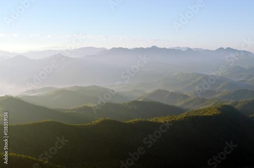 Fototapeta view of mountain and cloudy sky at the top view of Chiangmai Thailand obraz na płótnie