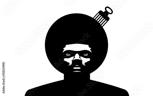 Fototapeta Afro Logo. Vector black man silhouette with hair.