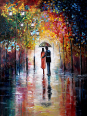 Plakat Original oil painting on canvas - Lovers under umbrella - Modern Art