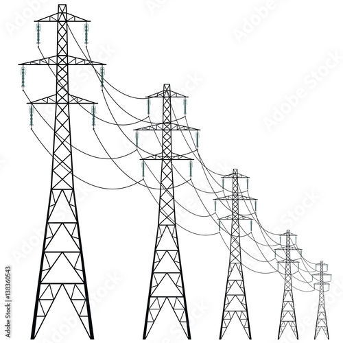 Stampa su Tela Vector high voltage pylons on white background