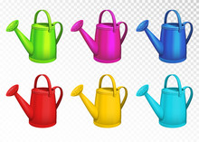 Colorful Watering Cans Set Iso...