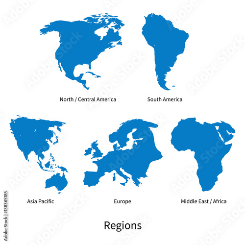Fotografía Detailed vector map of North - Central America, Asia Pacific, Europe, South Amer