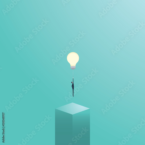 Obraz Businessman flying on a lightbulb as a symbol of business creativity. Creative solutions vector concept. - fototapety do salonu
