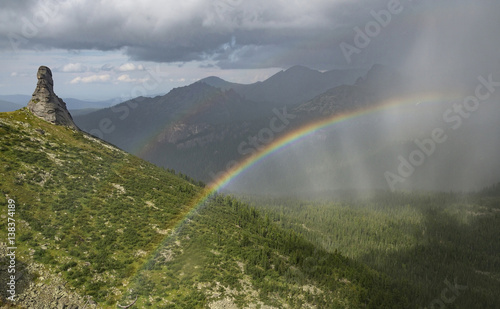 Tuinposter Wit Beatifull rainbow in mountain