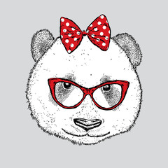 Cute Panda with glasses and a bow. Vector illustration.