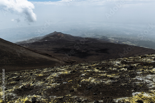 Staande foto Vulkaan View from the summit of Volcano Etna. Located on the island of Sicily in Italy
