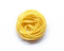 Fettuccine Italian Pasta Isolated On White Background