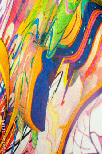 Deurstickers Paradijsvogel Fabric colors abstraction, with a pattern of yellow, blue, blue,