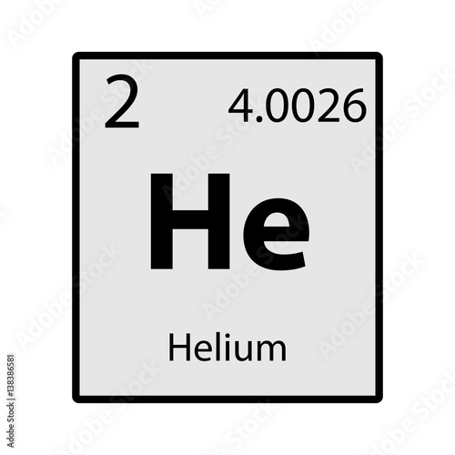 Helium Periodic Table Element Gray Icon On White Background Vector