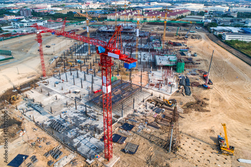 Foto op Plexiglas Construction site with cranes. Construction workers are building.Aerial view.Top view.