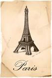 Fototapeta Paryż - Paryż / Wieża Eiffla / retro pocztówka