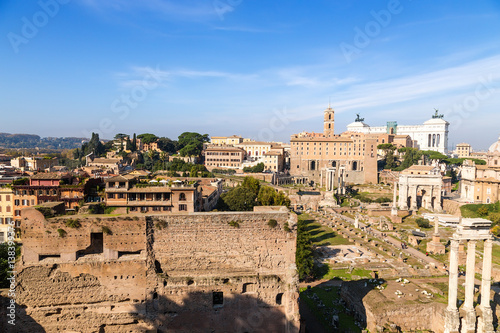 Photo  Rome, Italy. View of the ruins of the Roman Forum from Palatine