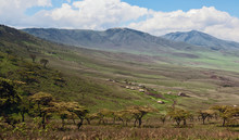 The Village Of The Masai Tribe Is Located On The Border Of The Reserve Ngorongoro - Tanzania