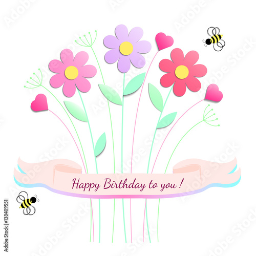 Happy Birthday Greeting Card Design With Flowers And Bee Vector Illustration
