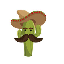 Animated Sketch Cactus With Mexican Hat And Moustache Vector Illustration