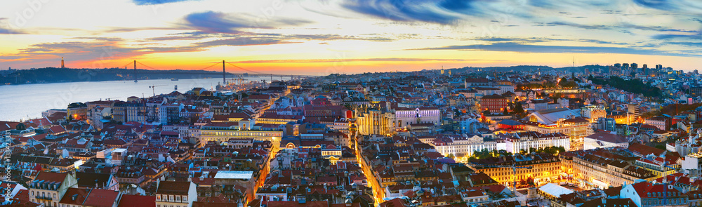Panorama of Lisbon at twilight