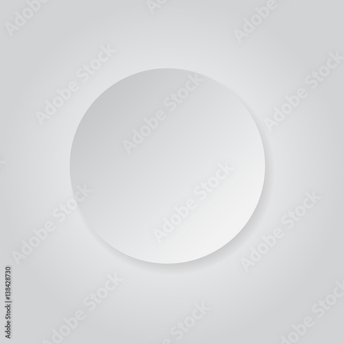 round shape white grey paper style with shadow background
