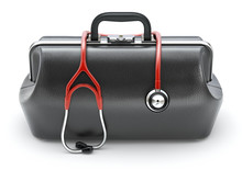 Retro Black Leather Doctor's Bag With The Stethoscope In Front View