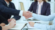 Business handshake. Two businesspeople shaking hands with each other in the office.