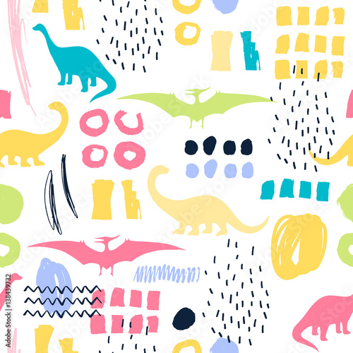 Cotton fabric Seamless pattern with cartoon dinosaurs. For cards, party, banners, and children room decoration.