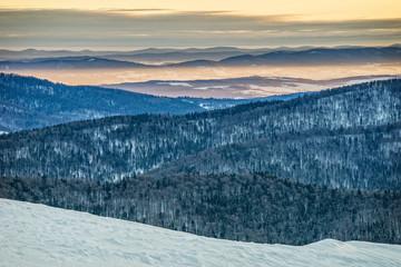 Panel Szklany Góry Bieszczady mountains in winter, beautiful sunrise