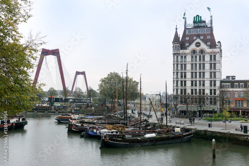 Staande foto Rotterdam ROTTERDAM, Netherlands - November 12, 2016 : Street view of Rotterdam City Netherlands. back to 1270 when a dam was constructed in the Rotte river by people settled around it for safety.