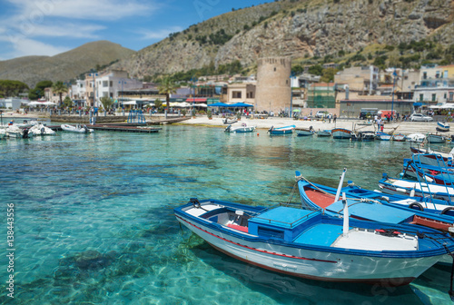 Fotobehang Palermo Boats in Mondello, near Palermo, Italy