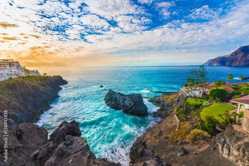 Tuinposter Canarische Eilanden Puerto de Santiago city, Atlantic Ocean coast, Tenerife, Canary island, Spain