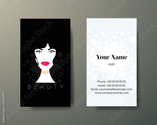 Set Of Vertical Cosmetic Business Cards On Grey Background Buy
