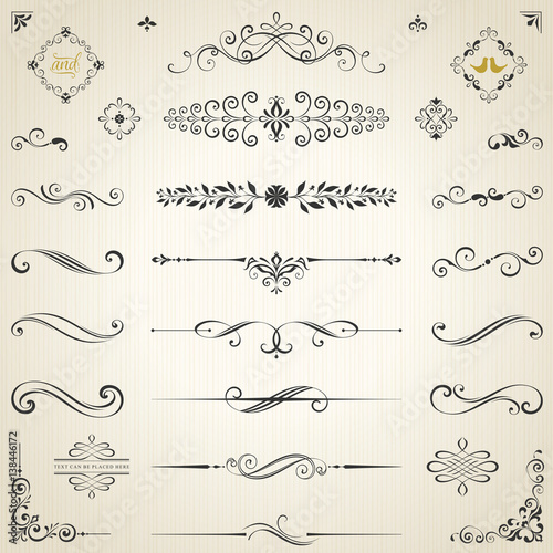 Vector set of ornate calligraphic vintage elements, dividers and page decorations. Wall mural