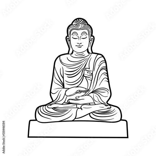 112b555f0c2c7 Buddha isolated on white. Esoteric vintage illustration. Indian, Buddhism,  spiritual art. Hippie tattoo, spirituality, Thai god, yoga zen .